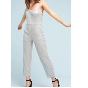 Anthropologie Sequenced Gray Jumpsuit Size 2